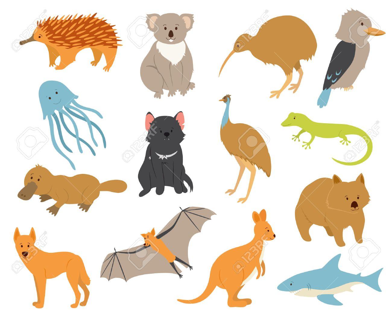 Australian Animals Set. Cartoon Characters. Animals Endemic To ...