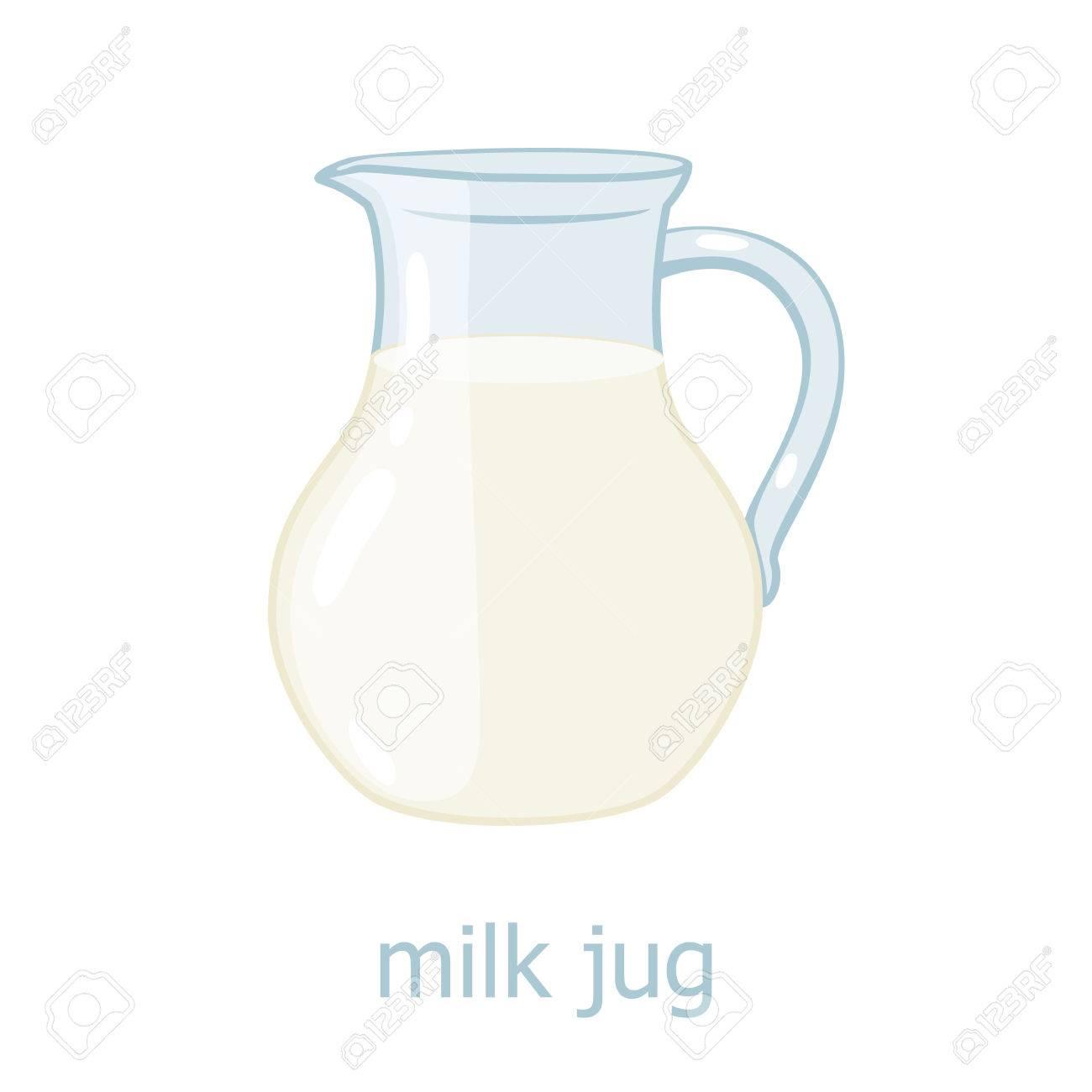 Milchkrug Cartoon-Illustration. Küchenutensilien. Glas Mit Milch ...