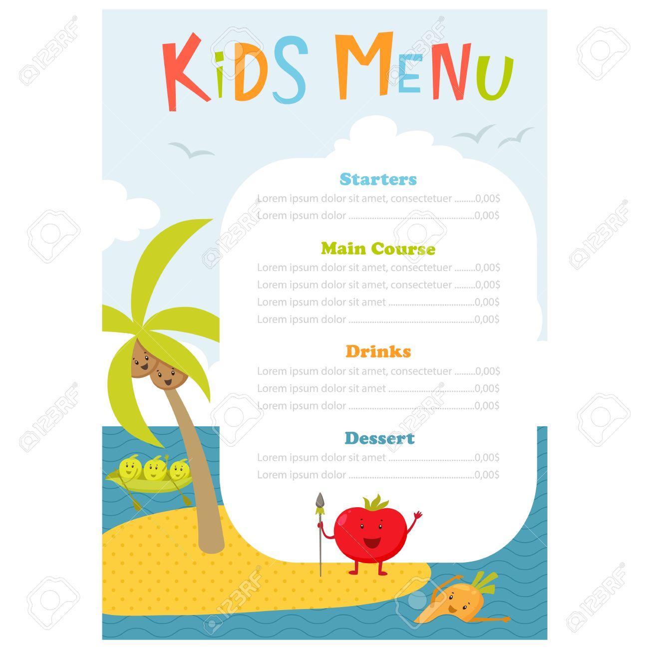 Favori Menu Pour Enfants. Enfants Mignons Repas Template Vecteur Meny  MV67