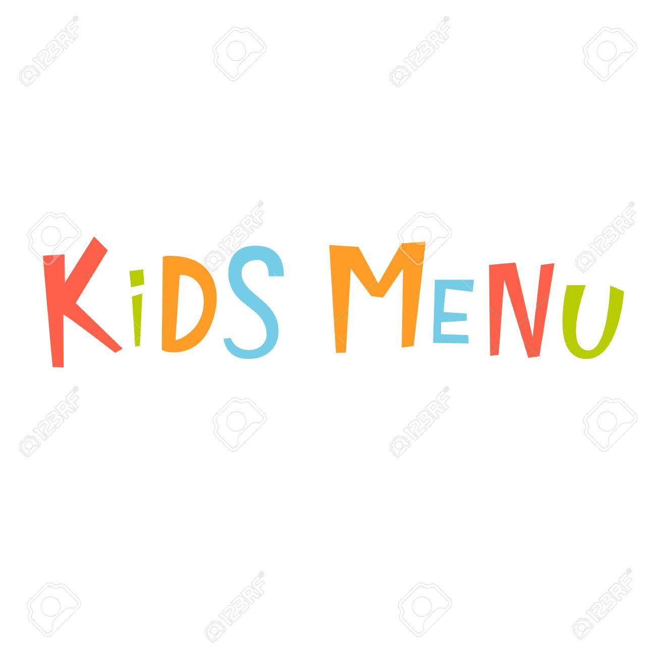 kids menu vector lettering. kids menu lettering isolated on white