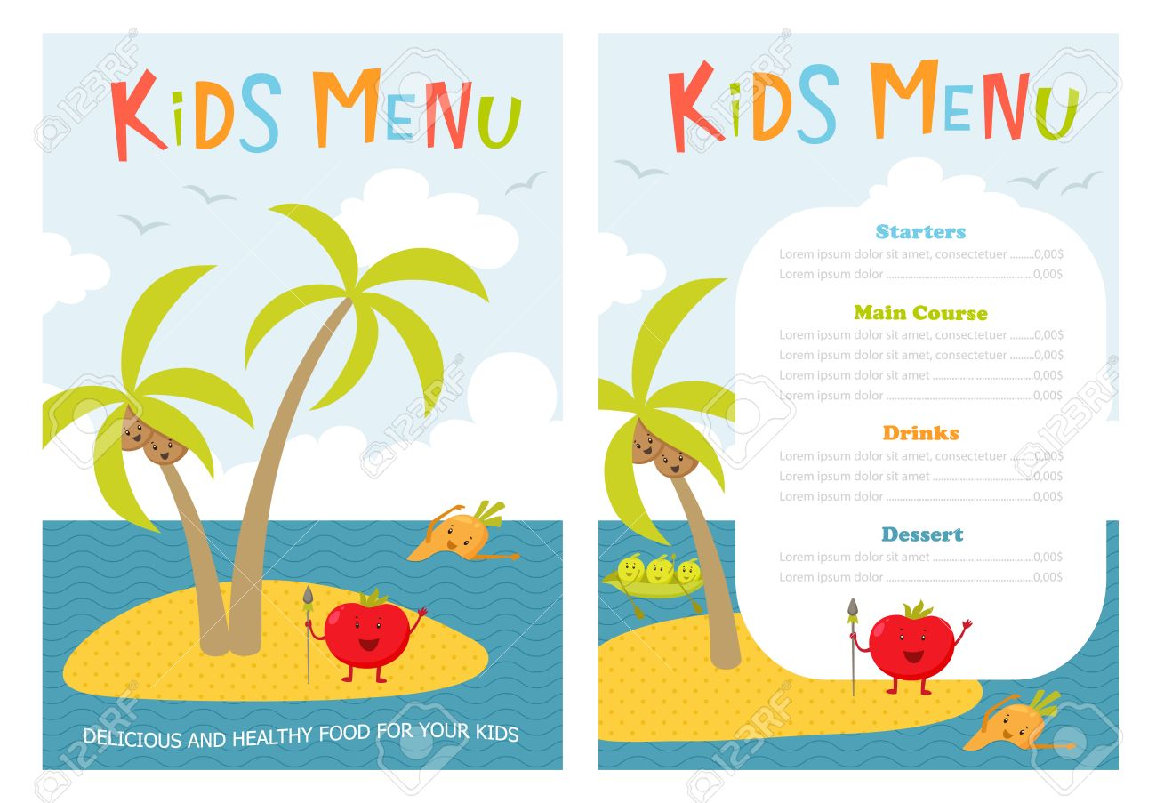Excellent kid menu template pictures inspiration resume ideas kids menu cute kids meal meny vector template with cartoon pronofoot35fo Images