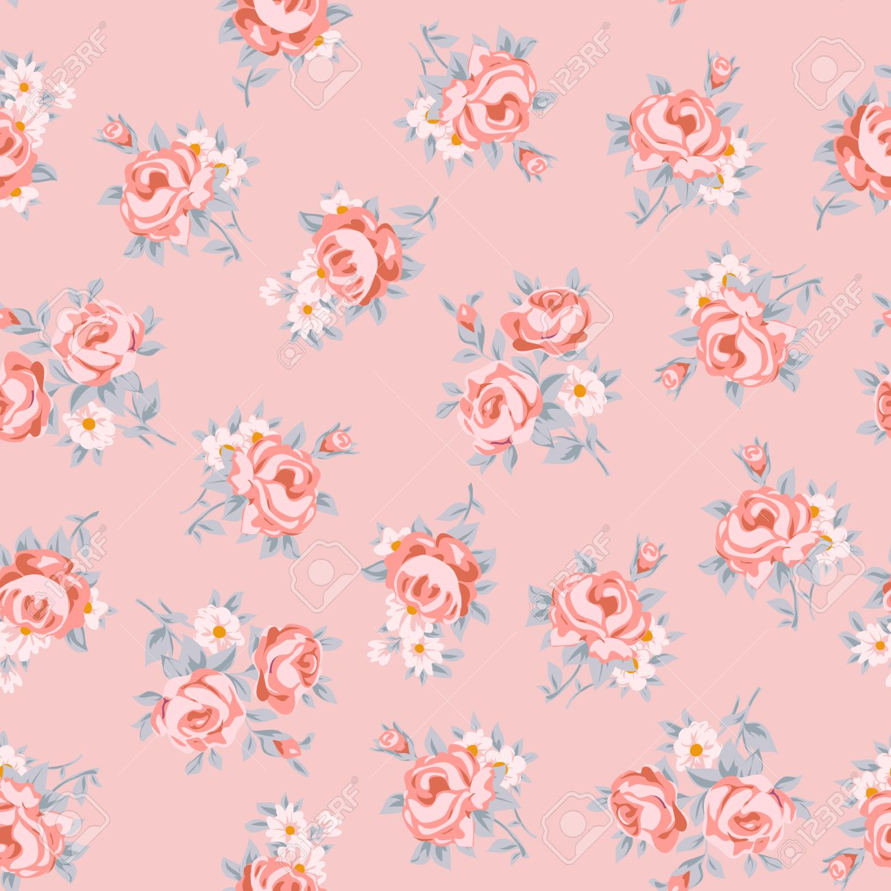 Flower Seamless Pattern Vector Simple Floral Print With Rose