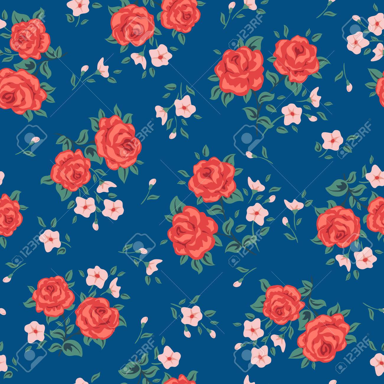 Flower seamless pattern vector. Simple floral print with rose. Small rose flower seamless background. Small rose flower pattern illustration. Small rose seamless pattern design. Rose vector pattern - 58289239