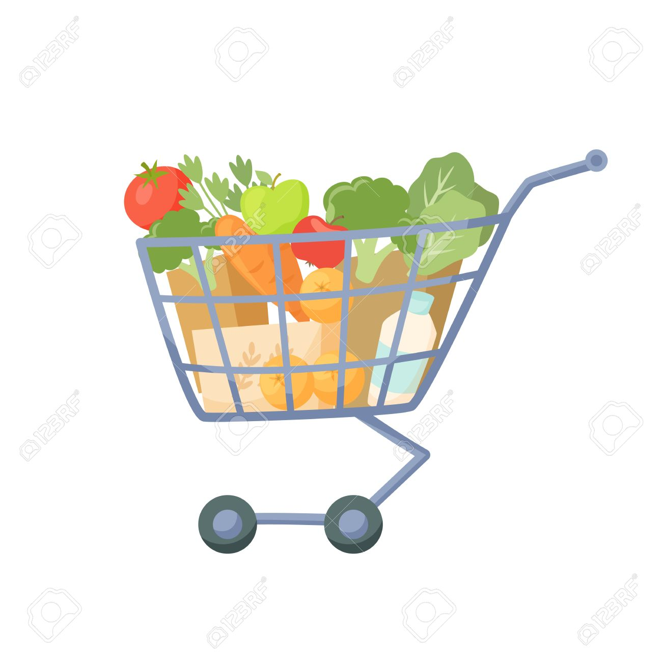 Shopping Cart Full Of Products Supermarket Trolley Cartoon Royalty Free Cliparts Vectors And Stock Illustration Image 60390758