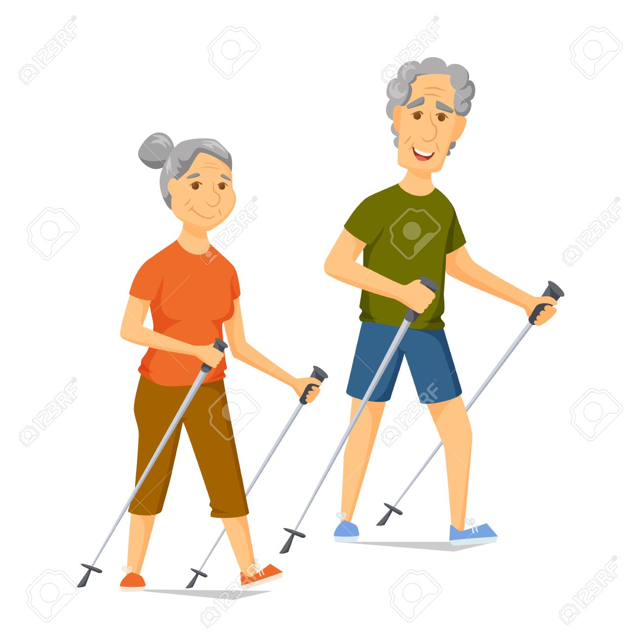 Seniors Nordic Walking Pensioners Walk Together Old Man And