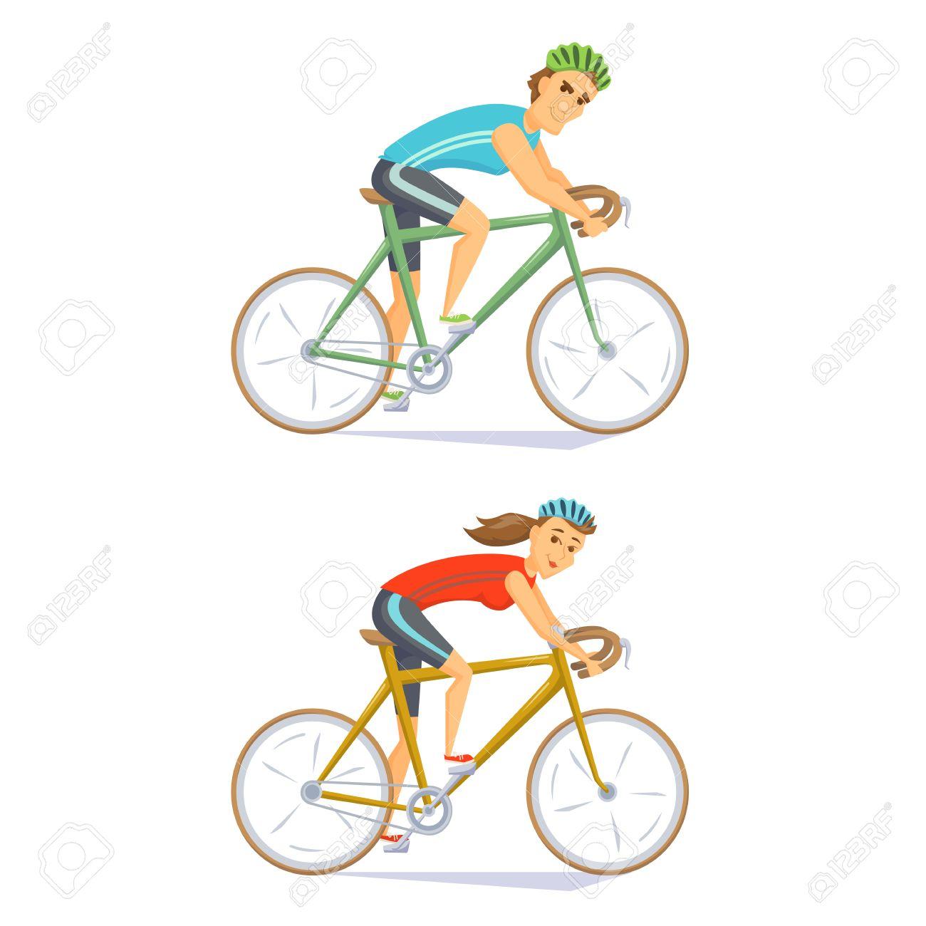Les Cyclistes Sur Des Vélos De Route Fixés Les Gens à Cheval Vélo Cyclistes Homme Et Femme Couple Sur Compétition Cycliste Vecteur De Caractères