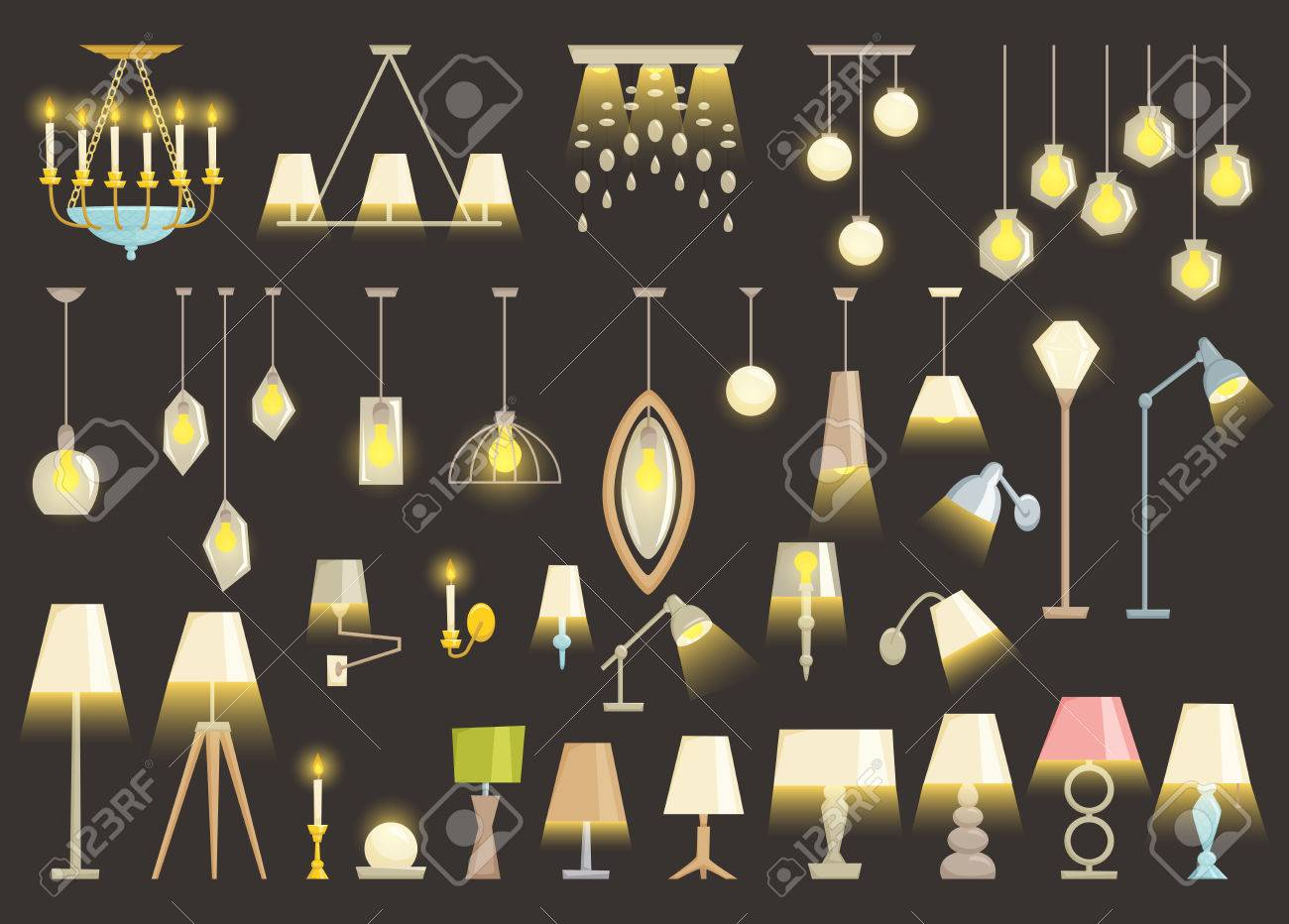 Lighting Design Vector : Lamp set isolated on black background interior light design