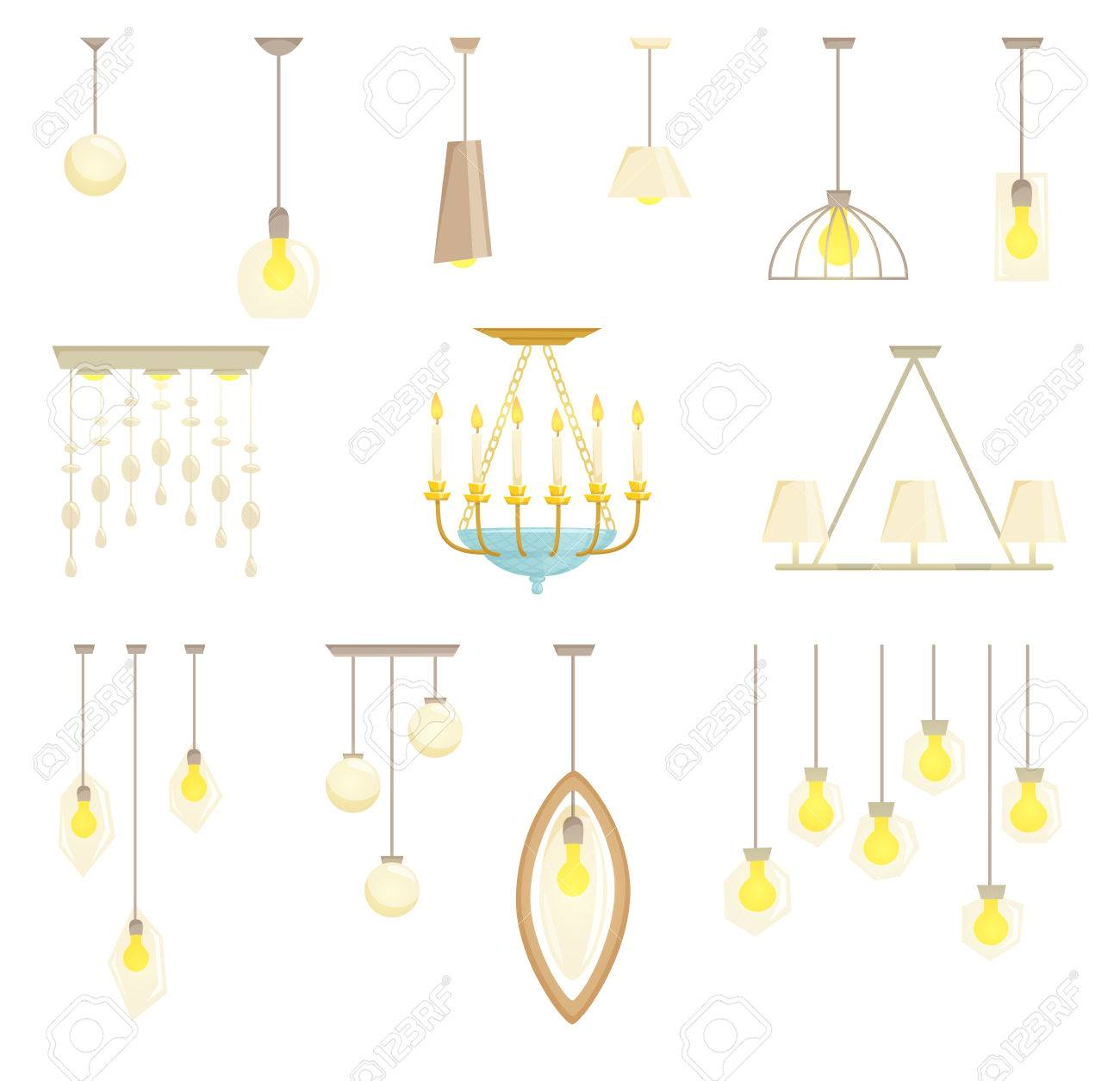 Ceiling Lamp Set Isolated On White Background. Interior Chandelier ...