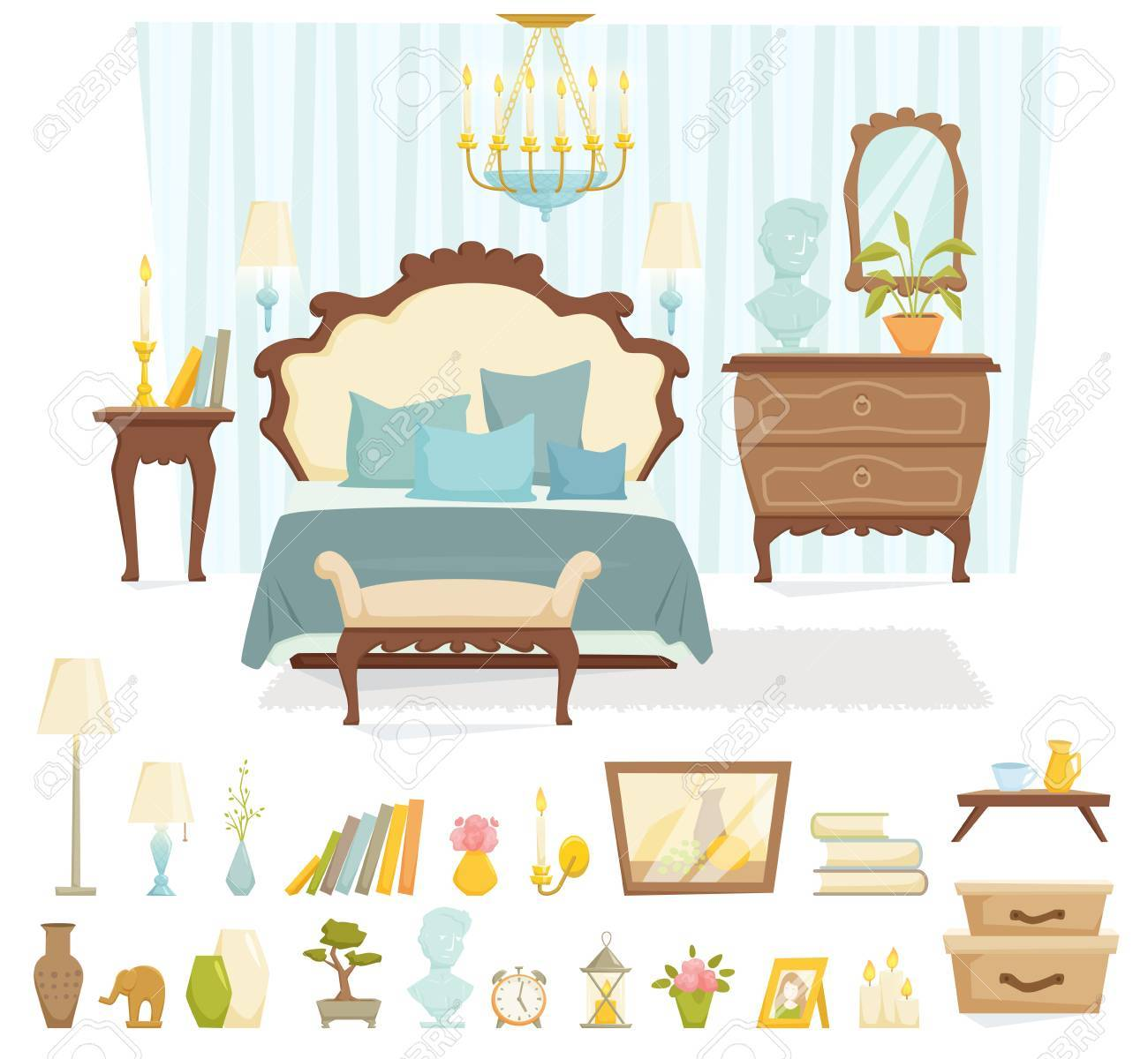 Bedroom interior with furniture and decoration in classic style bedroom interior cartoon vector illustration