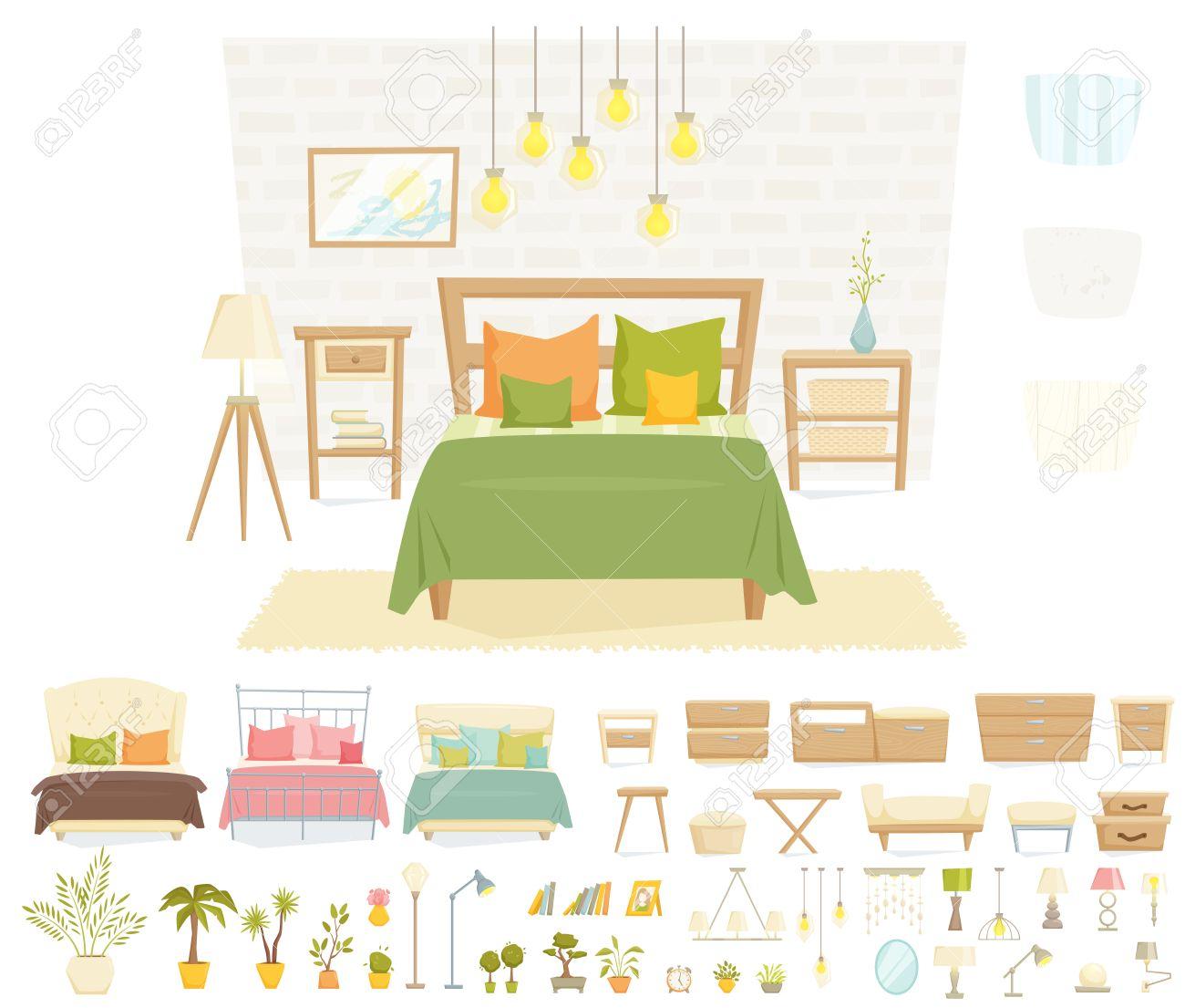 Interior Del Dormitorio Con Muebles Y Decoración Conjunto ...