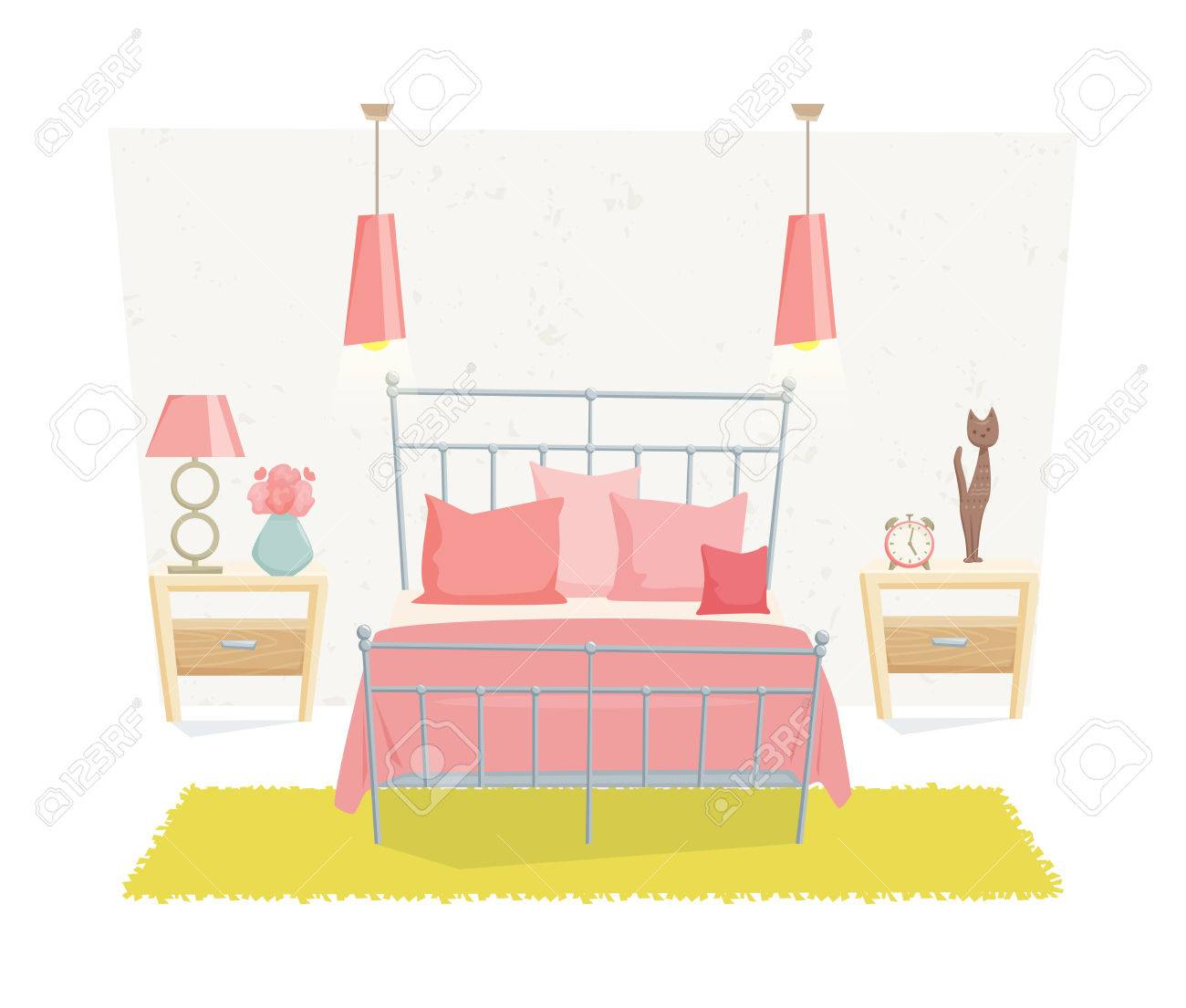 Bedroom interior with furniture and decoration in teen style...