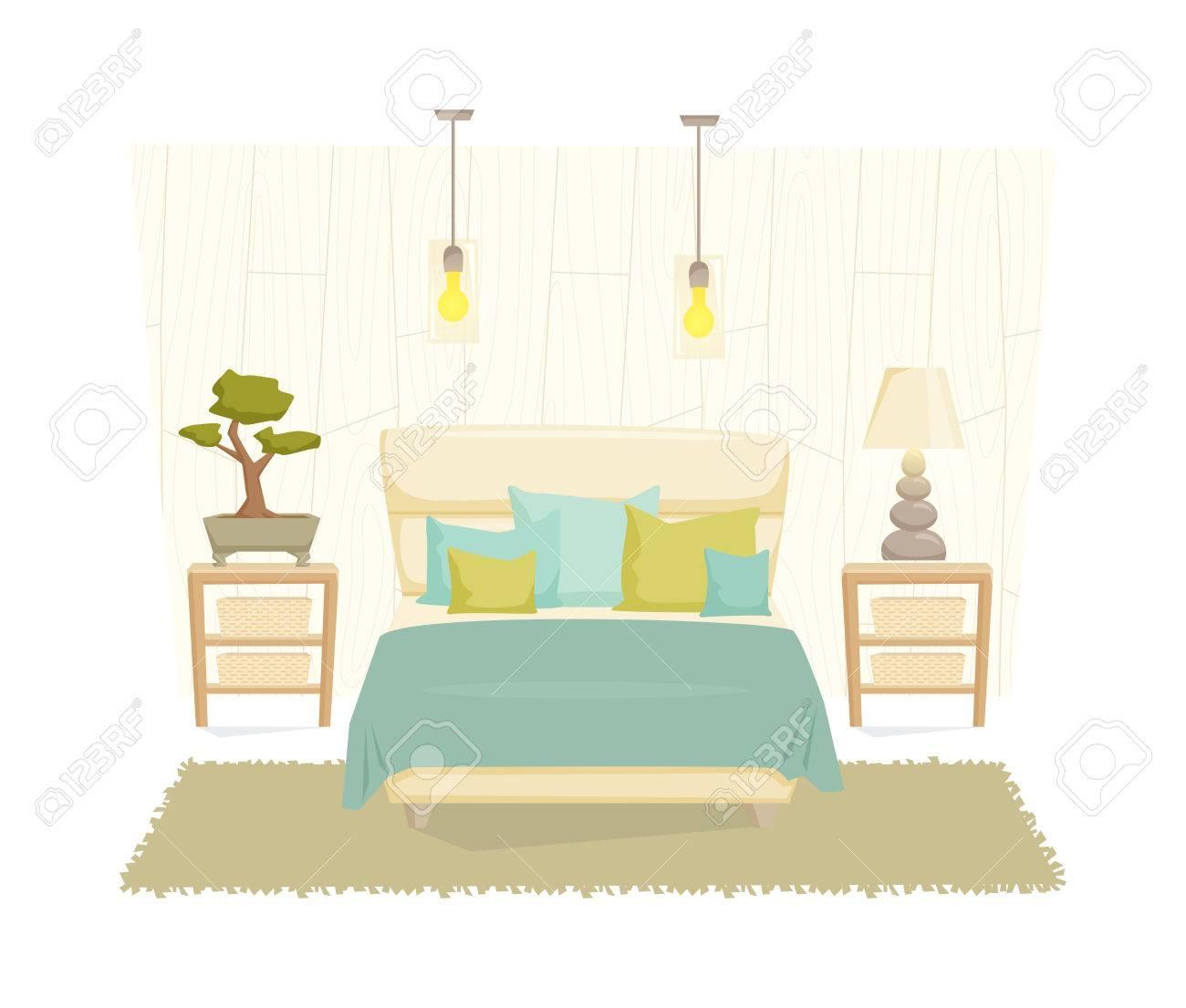 Schlafzimmer Interieur Mit Möbeln Und Dekoration Im öko Stil