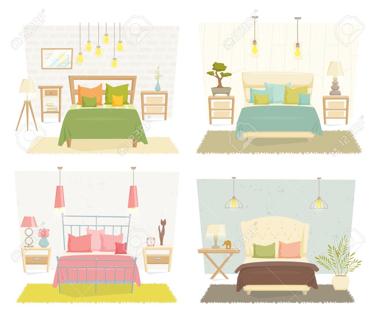 Schlafzimmer Interieur Mit Möbeln Und Dekor-Set. Schlafzimmer ...