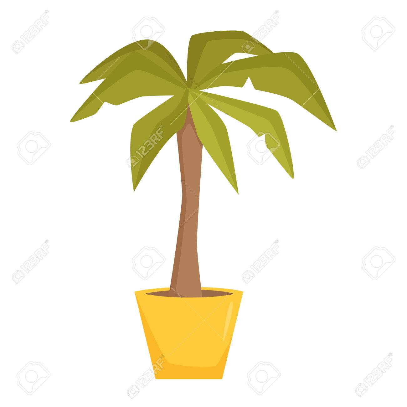 office tree. Palm Tree In Pot. Interior Home And Office Potted Plant. Houseplant Cartoon Vector Illistration