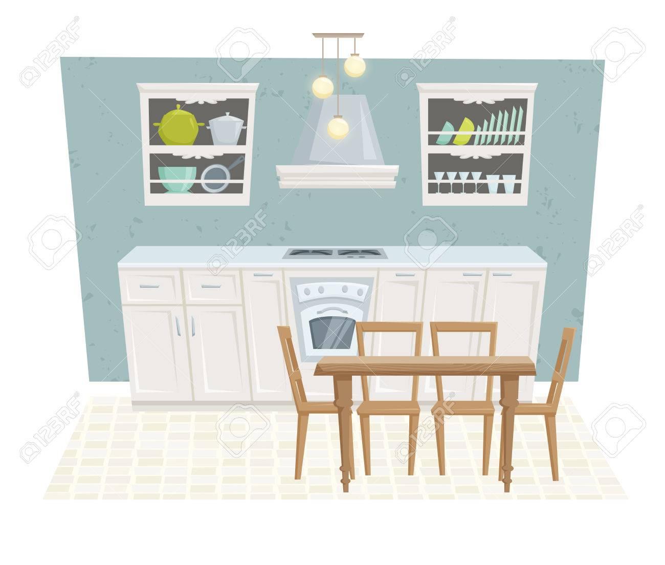Interior de la cocina con muebles y la decoración en estilo moderno.  Interior de la cocina ilustración vectorial de dibujos animados. Muebles de  ...