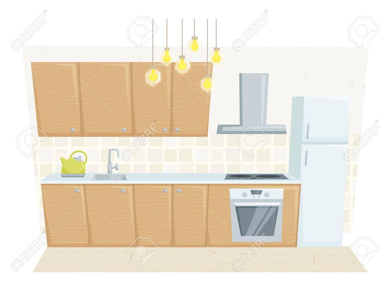 Entre cocina con muebles y la decoración en estilo moderno. Cocina  ilustración vectorial de dibujos animados entre otras. Muebles de cocina:  ...