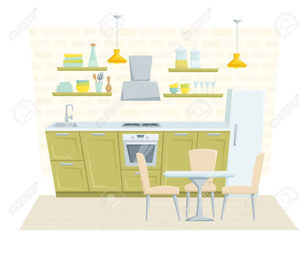 Cartoon kitchen table - Kitchen Interior With Furniture And Decoration In Modern Style Kitchen Interior Cartoon Vector Illustration