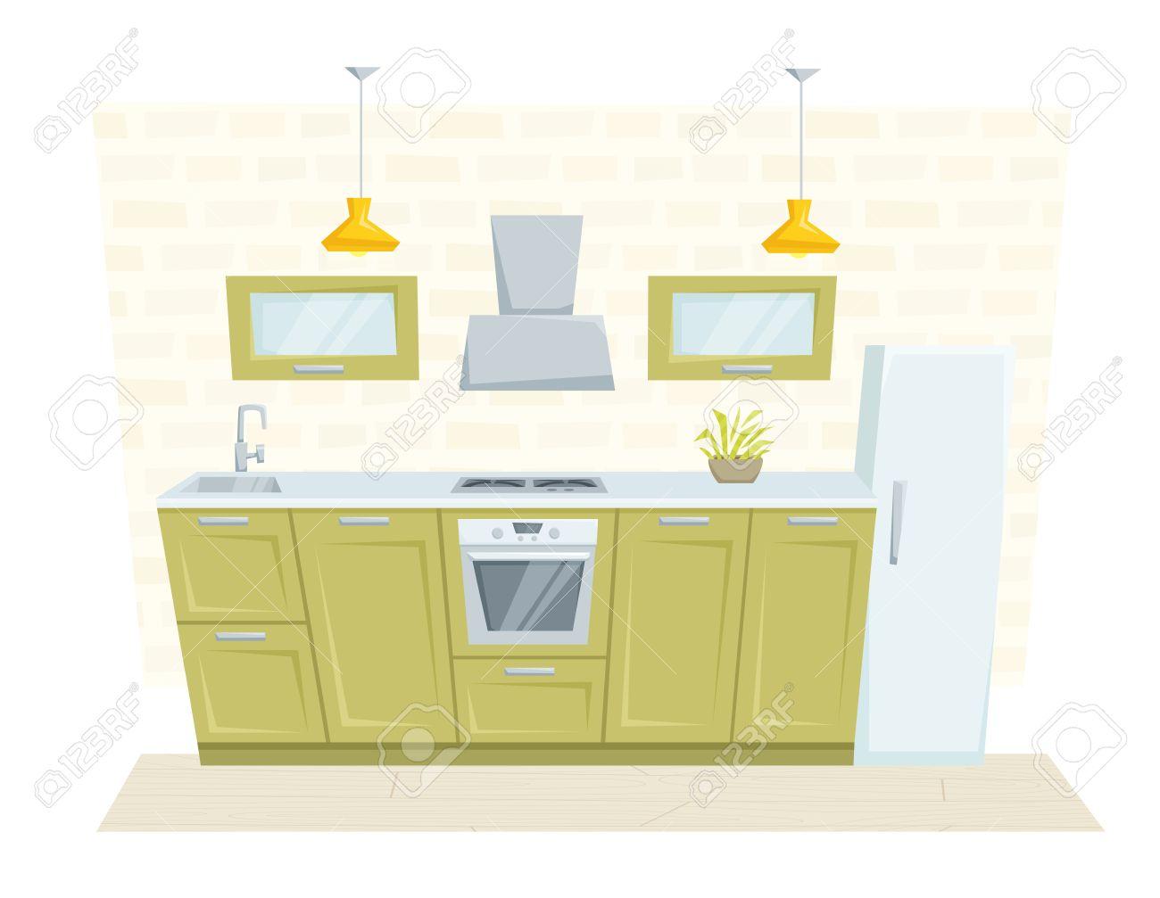 Entre Cocina Con Muebles Y La Decoración De Estilo Loft. Cocina ...