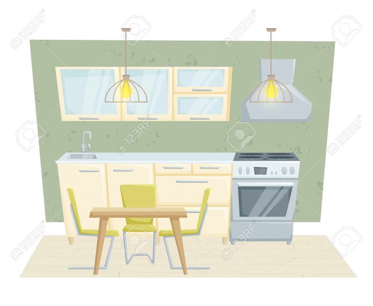 Entre cocina con muebles y la decoración en estilo moderno. Cocina  ilustración vectorial de dibujos animados entre otras. Muebles de cocina:  mesa, ...