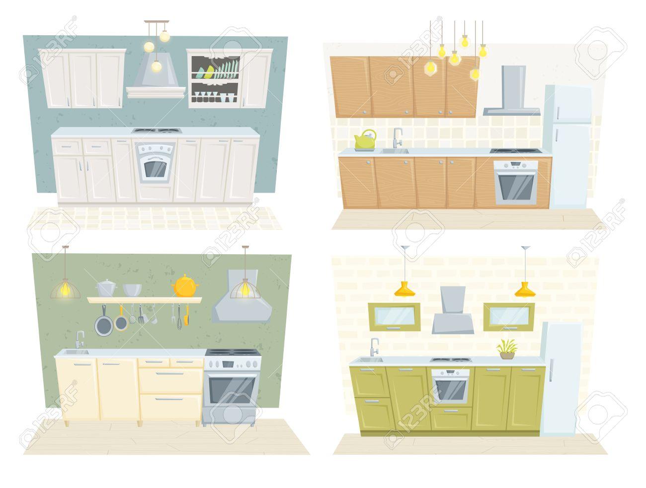 Entre Cocina Con Muebles Y Decoración Conjunto. Cocina Ilustración ...