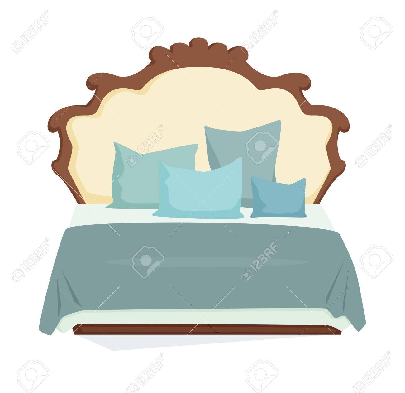 Cama Doble Y Una Almohada Con Una Manta En Estilo Clásico ...