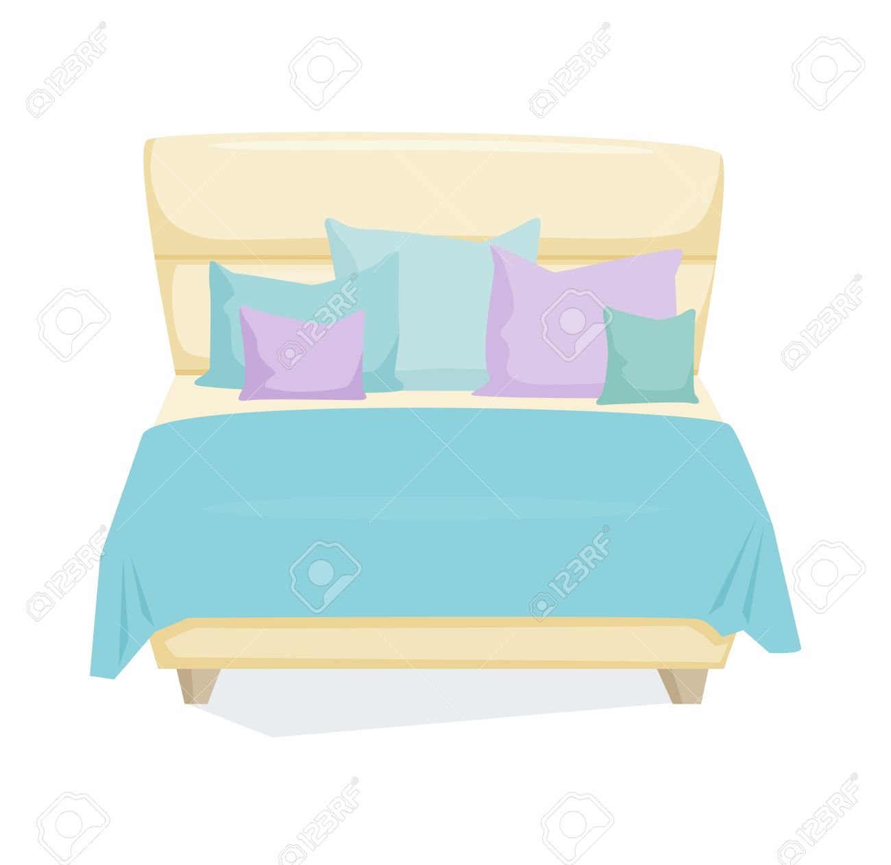 Double Bed And Pillow With Blanket In Modern Style. Double Bed ... for Pillow And Blanket Clipart  83fiz