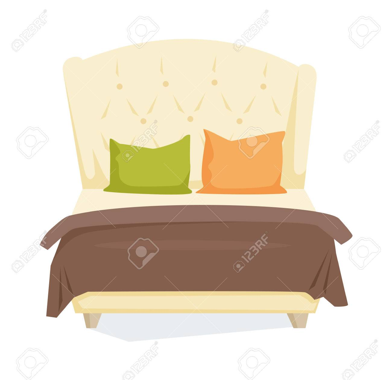 Double Bed And Pillow With Blanket In Modern Style. Double Bed ... for Pillow And Blanket Clipart  45hul