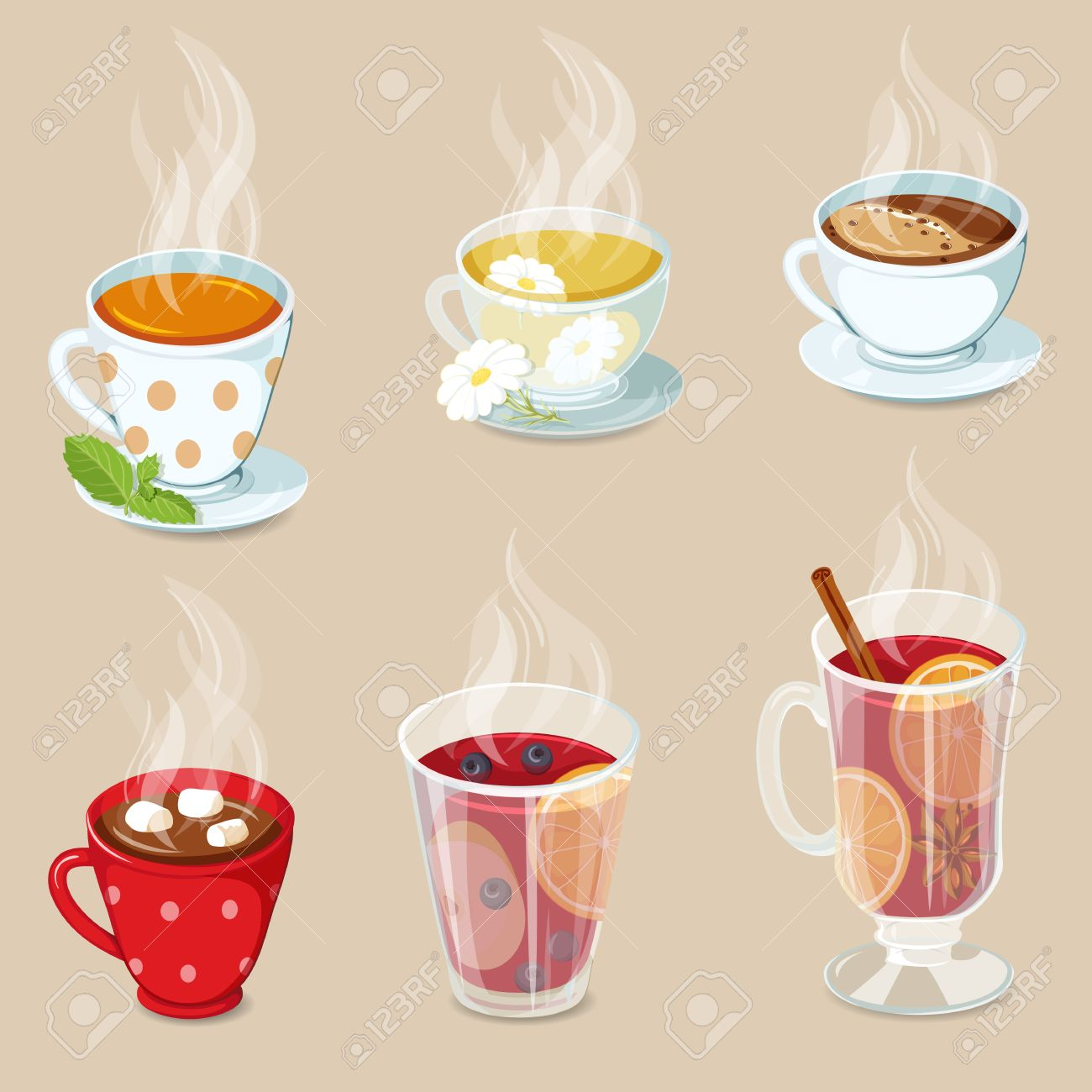 Heiße Getränke-Icons Gesetzt. Kakao Mit Marshmallows, Tee, Kaffee ...