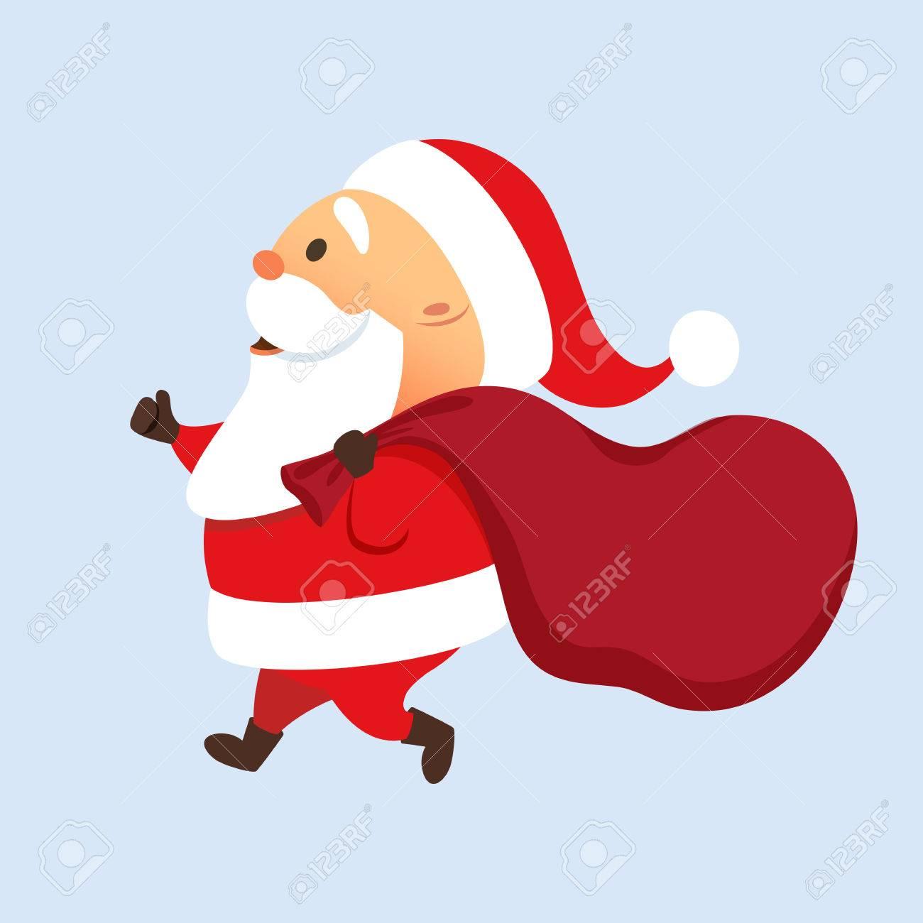 Weihnachtsmann Mit Einem Großen Sack Läuft. Weihnachtsmann Vorhanden ...