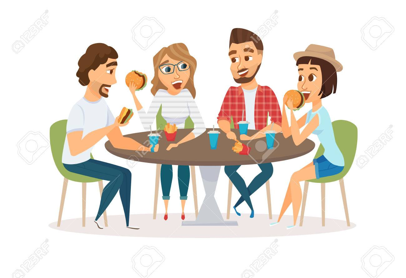 Friends Eating Fast Food Royalty Free Cliparts Vectors And Stock