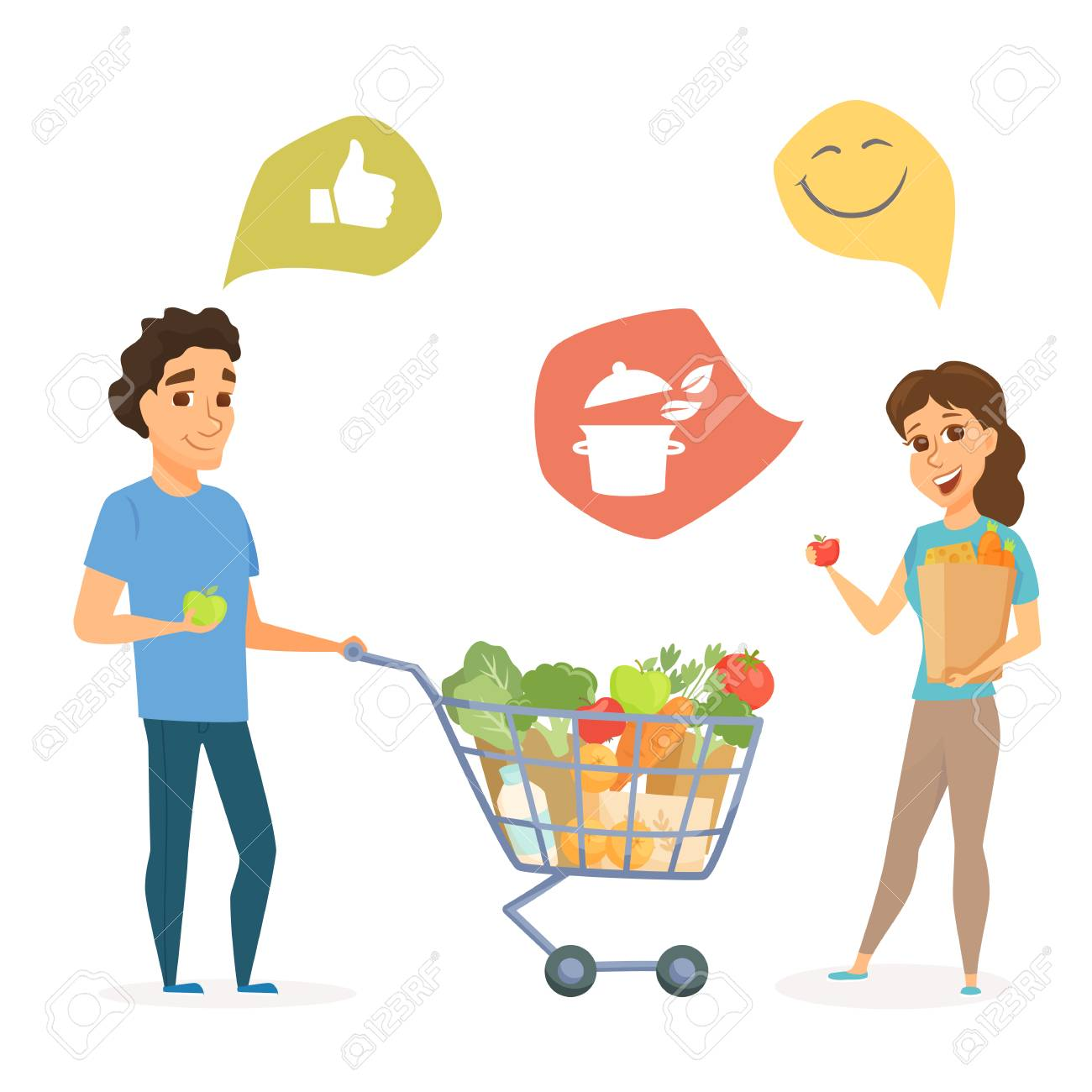 Couple With Shopping Cart And Bag With Healthy Food Man And