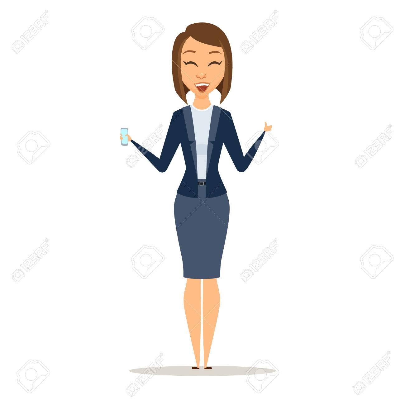 Mujer De Negocios Muestra El Teléfono Y El Pulgar Hacia Arriba ...