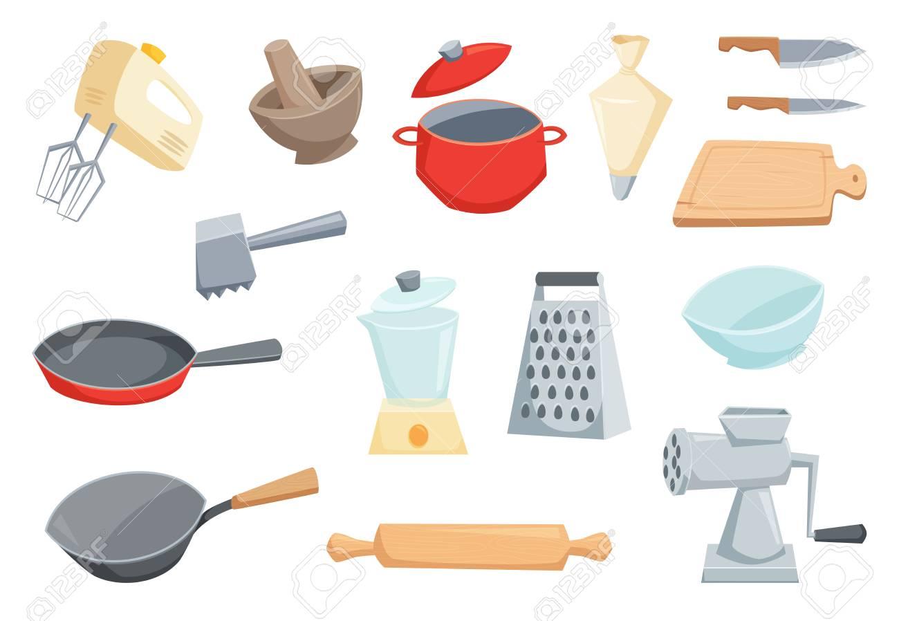 Küchenutensilien Gesetzt Lizenzfrei Nutzbare Vektorgrafiken, Clip ...