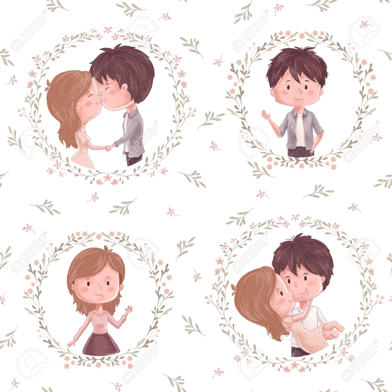 cute couple pattern. boy and girl, flower and wreath. ornament