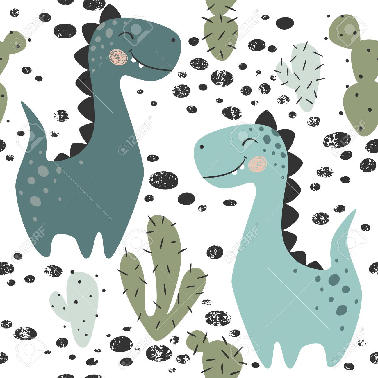 Dinosaur baby boy seamless pattern. Sweet dino with cactus. Scandinavian cute print. Cool brachiosaurus, illustration for nursery t-shirt, kids apparel, invitation cover, simple child background design - 110112864
