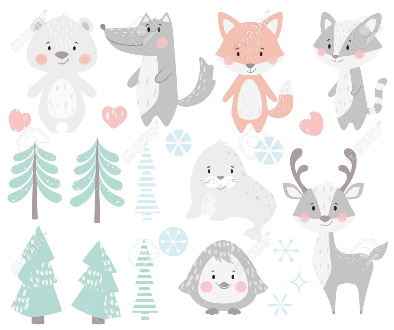 Reindeer, raccoon, seal, wolf, penguin, bear, fox baby winter set. Cute animal, forest tree, snowflake christmas illustration for nursery, t-shirt, kids apparel, baby shower. Scandinavian child design - 127087026