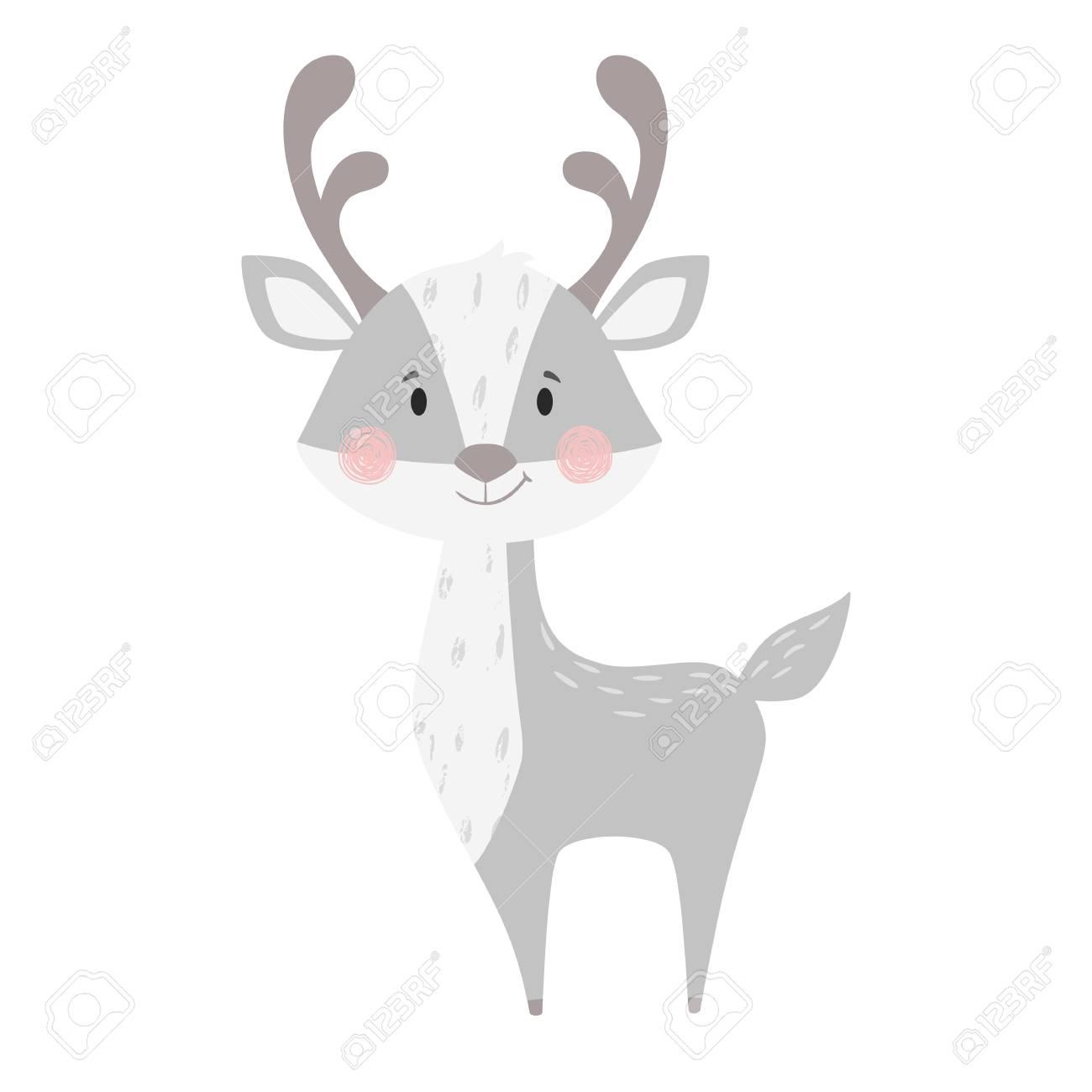 Deer Baby Print Cute Animal Cool Reindeer Illustration For