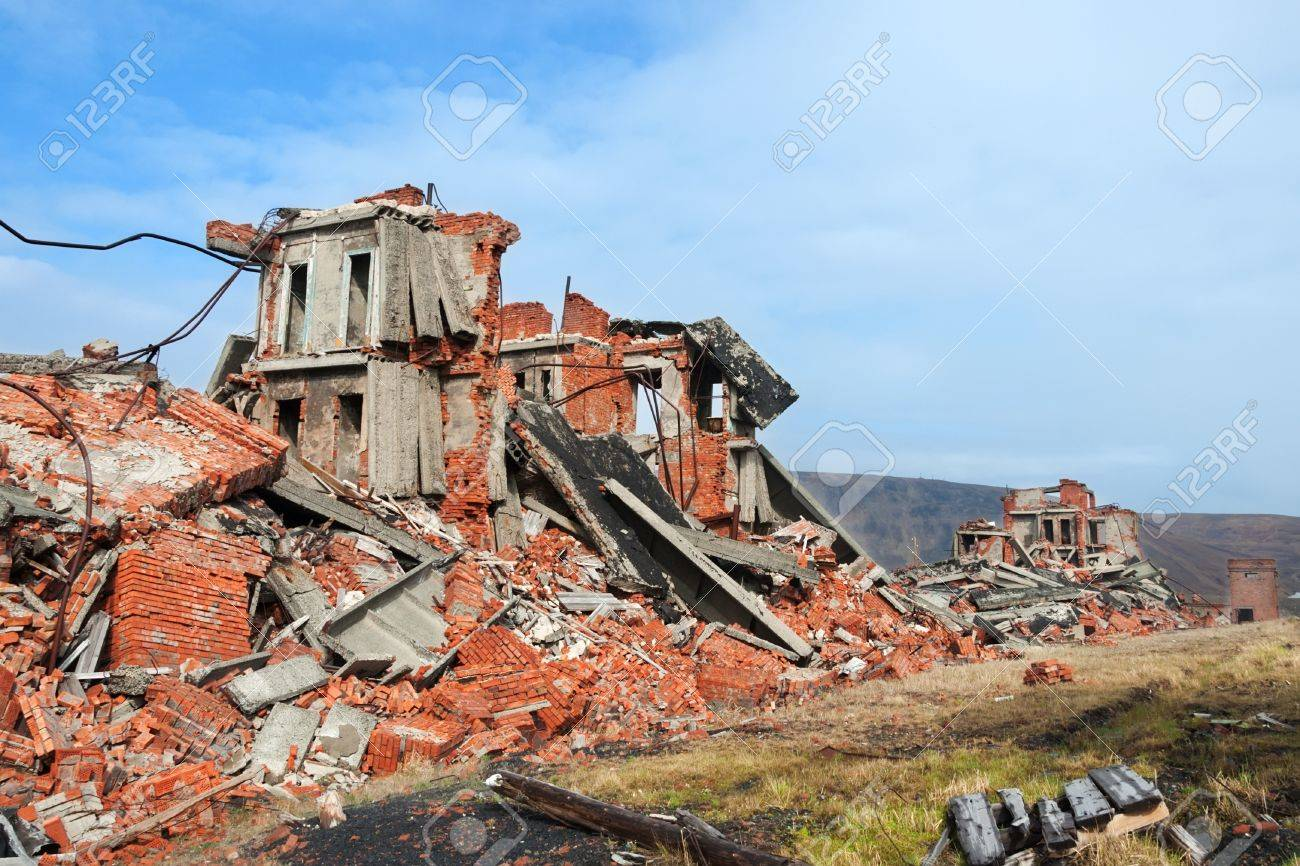 Completely destroyed a two-story brick building Stock Photo - 18153536