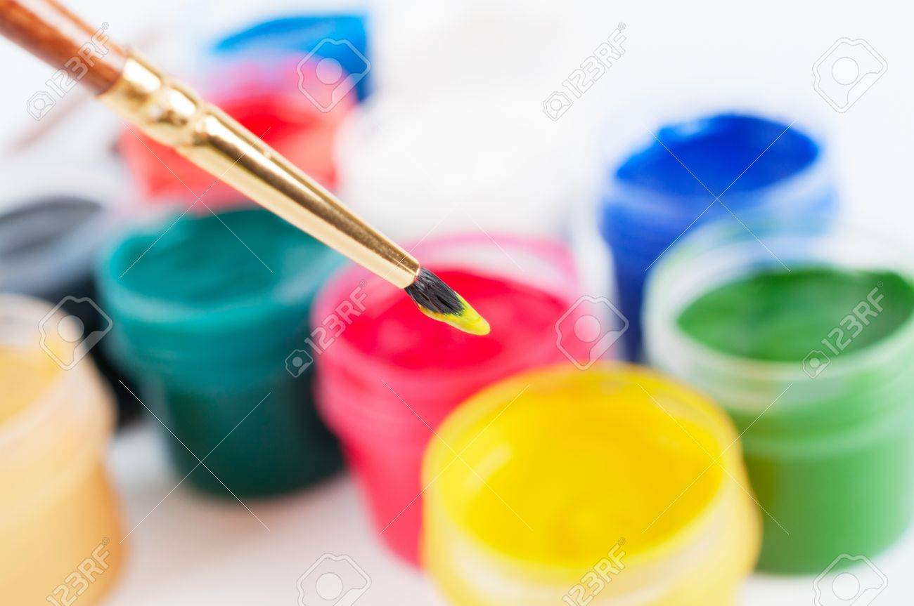 Brush and many paint jars with gouache Stock Photo - 19018864