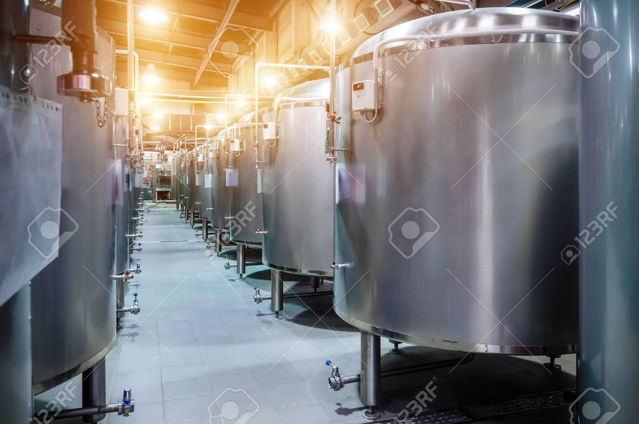 Modern Beer Factory. Small Steel Tanks For Fermentation Of Beer. Stock Photo    74002771