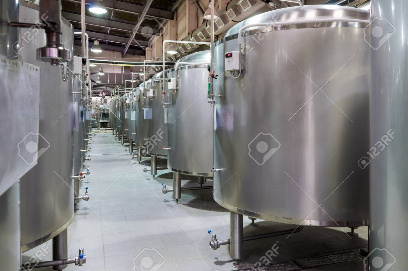 Modern Beer Factory. Small Steel Tanks For Fermentation Of Beer. Stock Photo    76443628