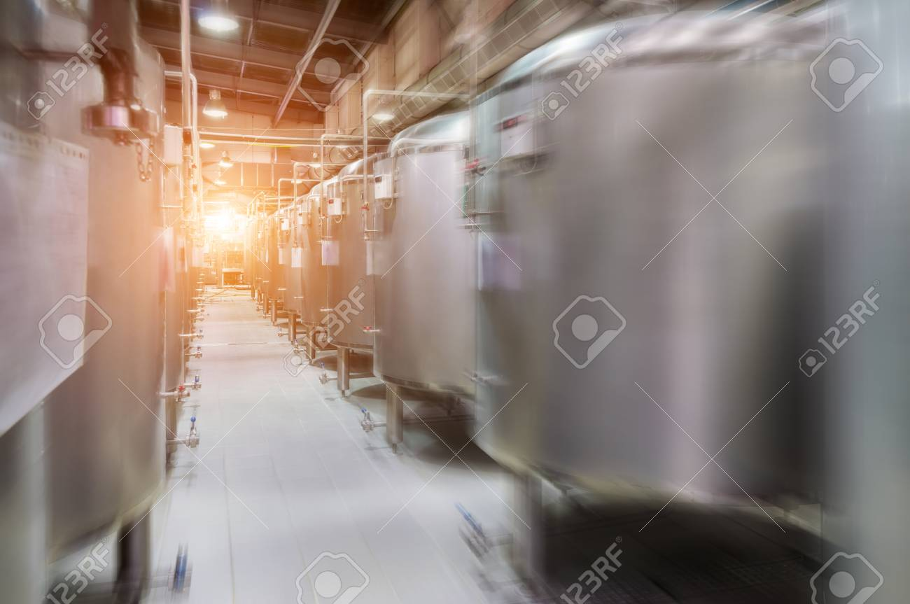 Modern Beer Factory. Small Steel Tanks For Fermentation Of Beer. Stock Photo    76682029