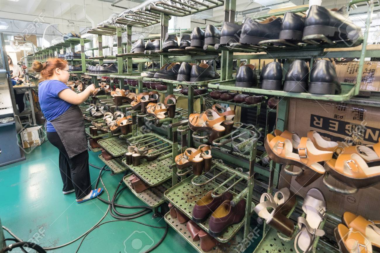 The Conveyor Of The Shoe Factory Stock