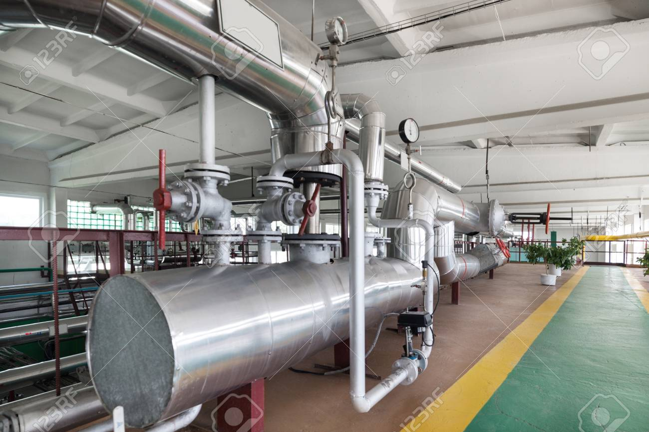Modern Boiler Room, Steam And Hot Water Generation. Stock Photo ...