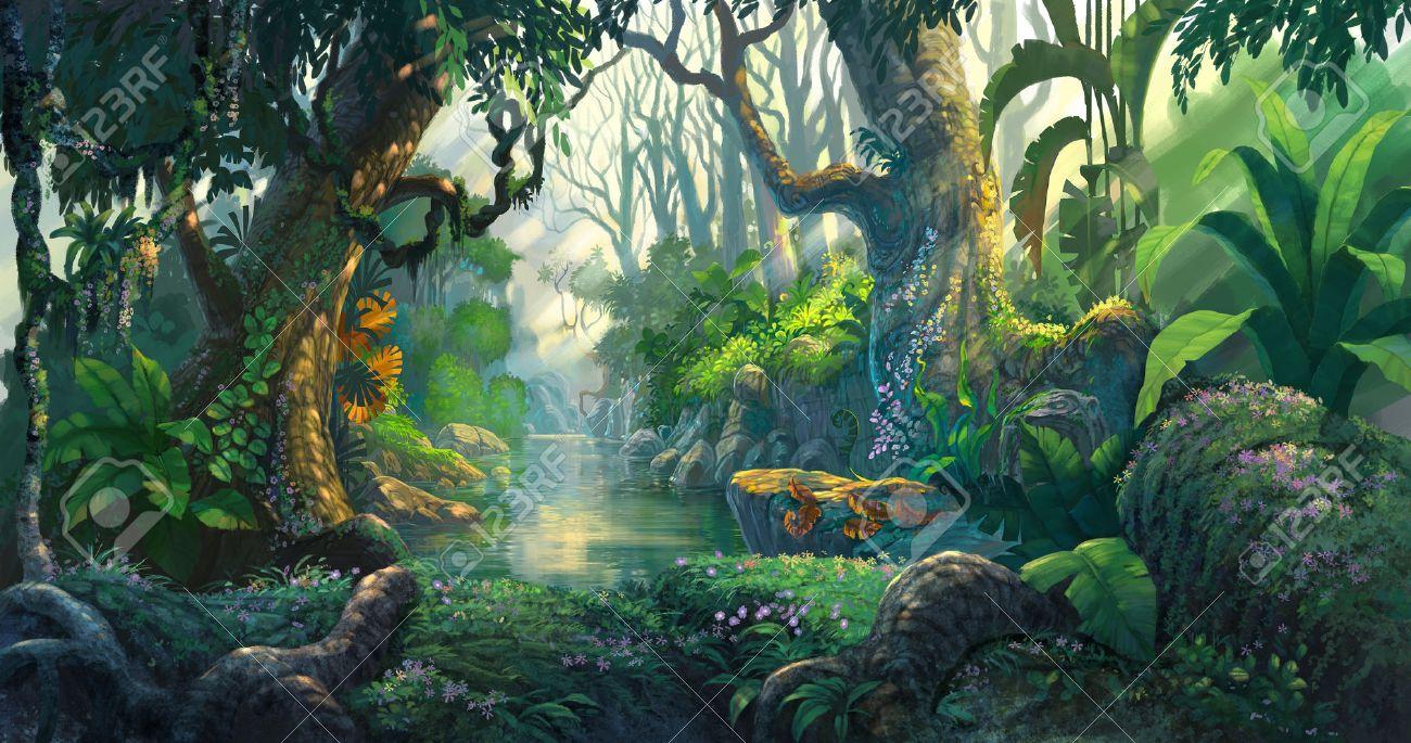 ファンタジーの森の背景イラスト絵画 ロイヤリティーフリーフォト