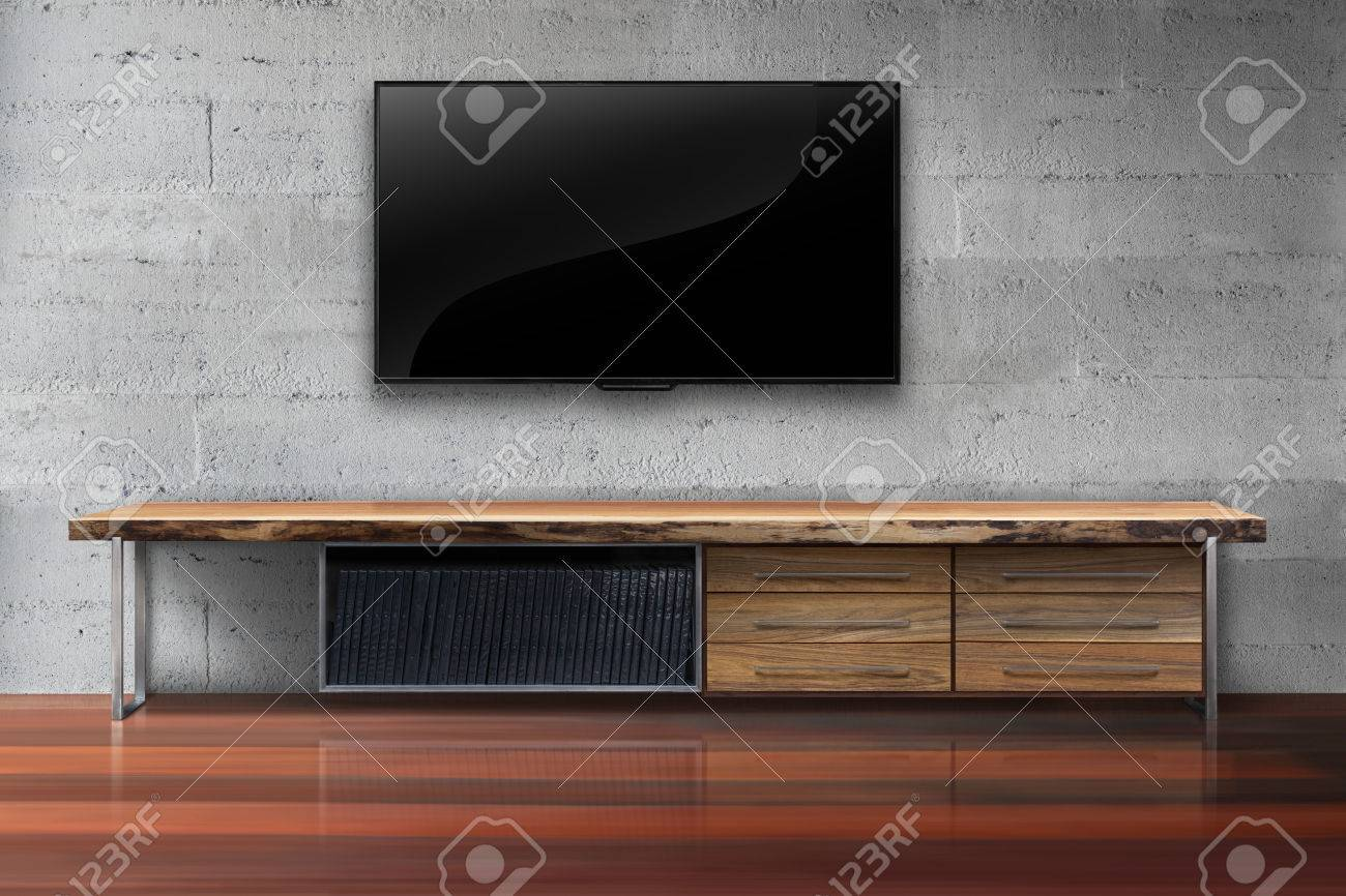 Led Tv En La Pared De Hormig N Con Mesa De Madera Sala De Estar