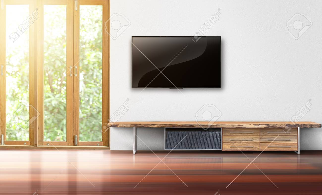 Tv On White Wall Empty Living Room Interior Stock Photo Picture And Royalty Free Image Image 97337038