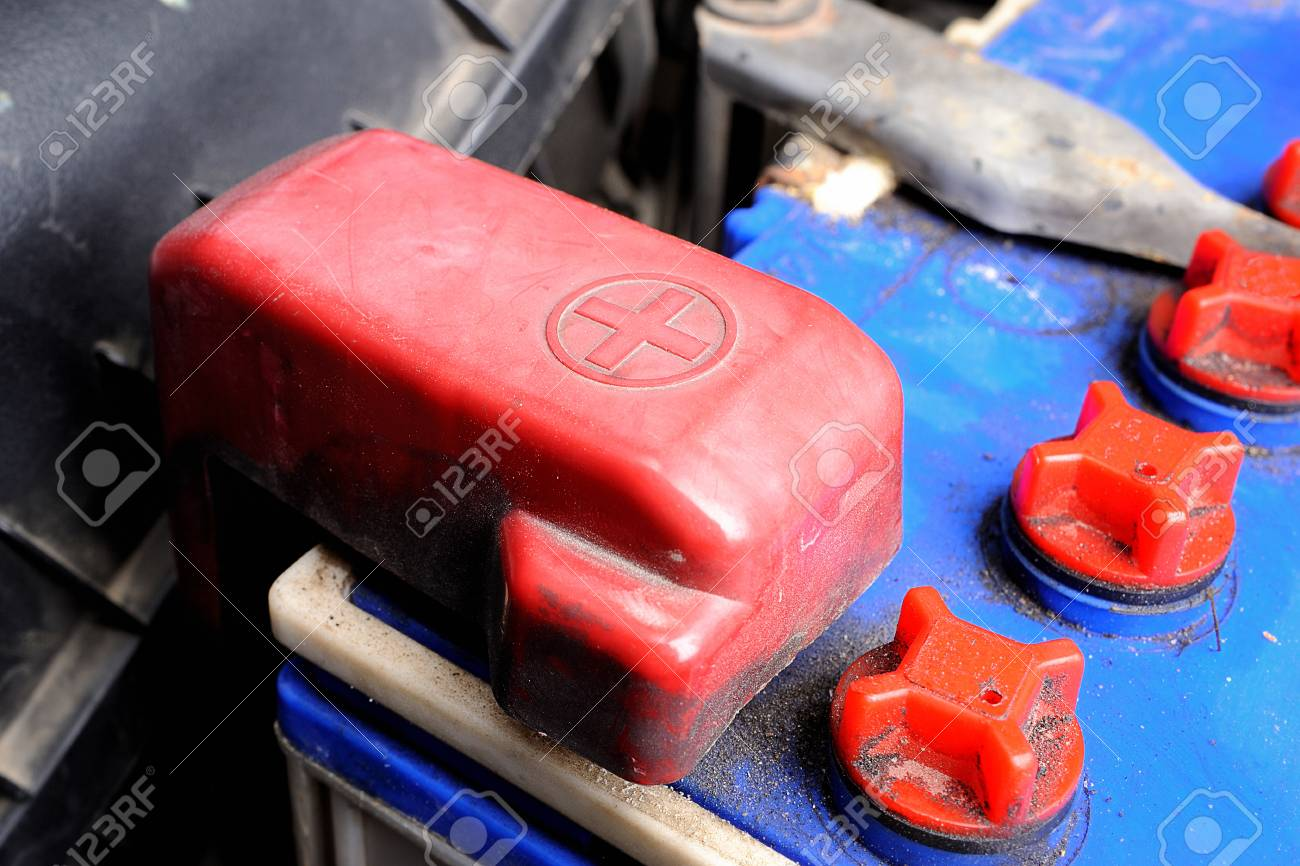 Old Red Battery Car Terminal Cap Stock Photo Picture And Royalty