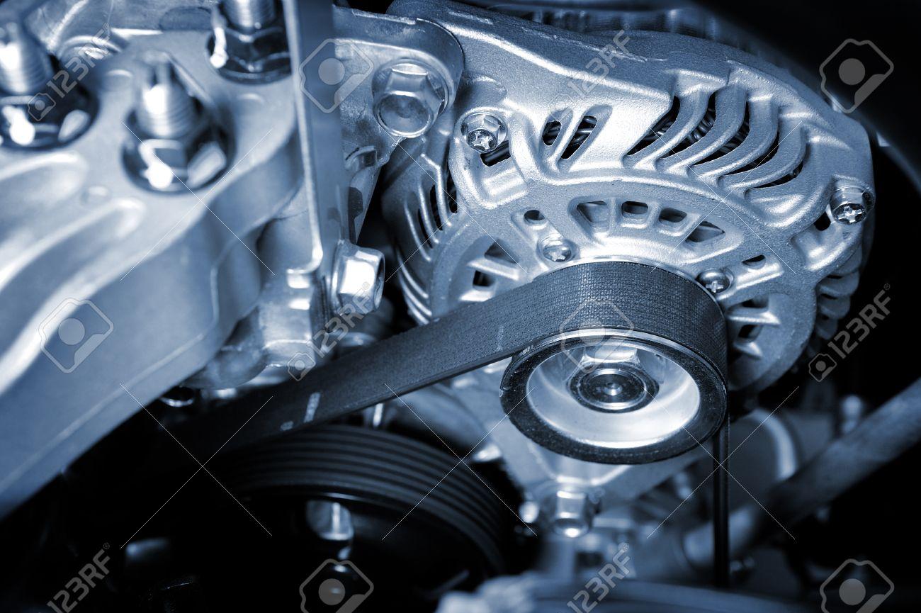 closeup car timing belt in clean engine room - 31806153