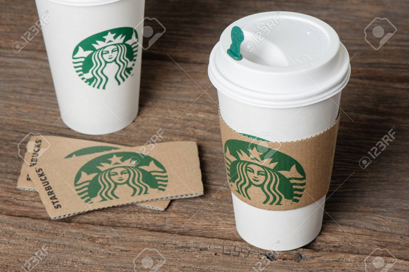 bangkok thailand february 26 2015 white paper cup with sleeve